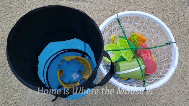 A Pop-Up Mesh Hamper or a Laundry Basket is great for hauling sand toys to and from the beach