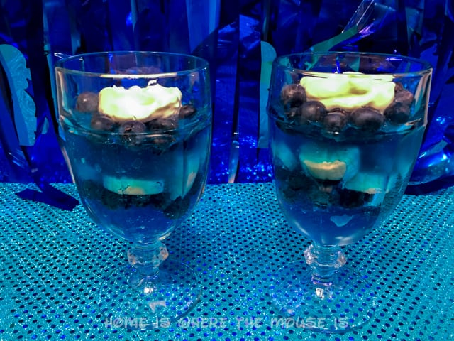 Yogurt and Jello Parfait with bananas and blueberries to resemble Dory's colors