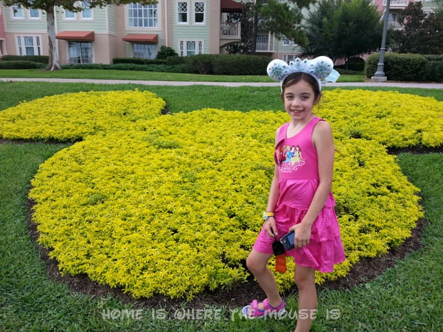 This Mickey Mouse shaped created with flowers is part of the landscape at Disney's Saratoga Springs Resort