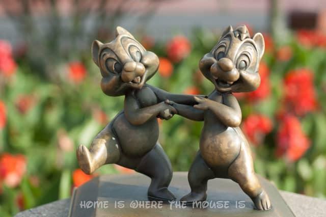 Chip & Dale Statue in Magic Kingdom